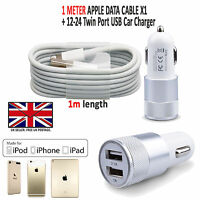 2 IN 1 LED USB CAR CHARGER & FAST CHARGING CABLE LEAD FOR APPLE IPHONE IPAD IPOD