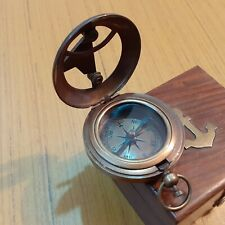 Brass Mini Compass Steampunk Nautical Jewelry  Necklace Pendent compass 10x