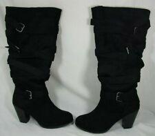Torrid Womens Faux Suede Multi Strap Design Zip Up Knee Boots Black Sz 9 Wide