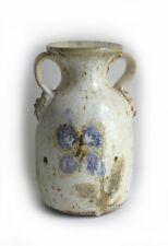 "Artisan Studio Handmade Signed White Floral Vase 7"" Ceramic Pottery Clay"