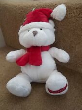 MOTHERCARE MY FIRST CHRISTMAS WHITE TEDDY BEAR BABY COMFORTER SOFT TOY MC285F