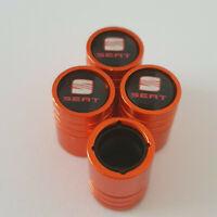 SEAT Orange Valve Dust caps all models 13 colours Ask NON STICK LEON CUPRA R IBI