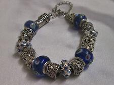 Gorgeous Tibetan silver and blue murano glass bead charm bracelet  8''