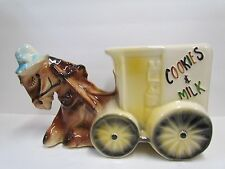 AMERICAN BISQUE DONKEY WAGON CART COOKIES AND MILK COOKIE JAR #740