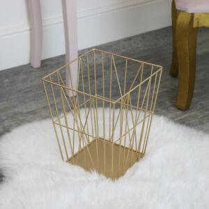 Gold Wire Storage Basket Bin geometric glamorous home decor storage modern