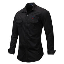New Mens Fashion Casual Long Sleeves Formal Denim Jeans Cotton Top Shirts