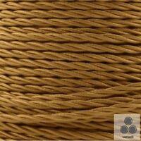 Textilkabel, Stoffkabel, Stromkabel Gold 3 adrig 3 x 1,5mm² verseilt (Meterware)