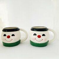 Ceramic Christmas Holiday Smiling Snowman Head Coffee Tea Mug Cup Set of 2 New