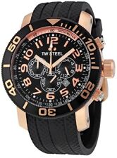 BRAND NEW TW Steel TW92 Black Rubber Gold 48mm Chronograph WATCH..