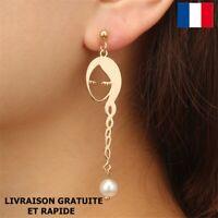 Boucle D'oreille Visage Original Dorée Cadeau Bijou Femme Soirée Fête Des Mères