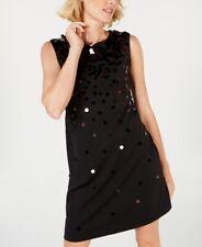 New Womens Sequin Paillete Sleeveless Shift Dress Black Size 12