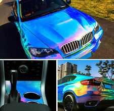 Holographic Blue Rainbow Neo Chrome Car Vinyl Wrap Air Bubble Free Sticker