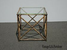 Vintage Hollywood Regency Faux Bamboo Gold Rustic Metal End Table ~ Side Table