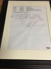 AUTOGRAPHED MIKE TYSON TRAVEL ITINERARY FRAMED PSA CERTIFIED SIGNED SOME CREASES