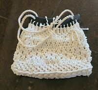 Vintage Boho Macrame Crochet Woven Knotted Knit Wooden Brown Handles Bag Purse