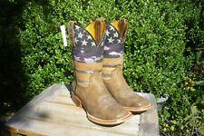Women's 5 B M New Tin Haul AMERICAN WOMAN Tan Square Toe Cowboy Boots