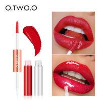 2 in 1 Matte Glitter Shimmer Lipgloss Velvet Lip Tint Nude Lipstick Lip Balm