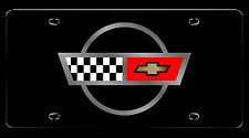 C4 Corvette 1984-1996 Crossed Flags Logo License Plate - Black