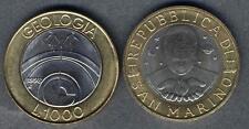 Münzen Varia San Marino 1000 Lire 1998 R Km#384 Xf-unc Geologia Bimetall G11983