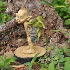 Miniature Fairy Garden Pixie w/ Baby Dragon on Wood Stump - Buy 3 Save $5
