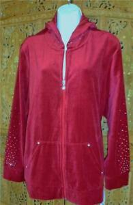 STYLE & CO SPORT Velour Red Jacket Hoodie Bling Sz 2X NWT Macy's Free Ship $59