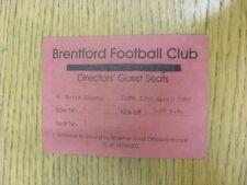 Billete De 12/04/1993: Notts County Brentford V [directores invitados Asientos] (agujero básico