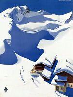 "Vintage Illustrated Travel Poster CANVAS PRINT Austria Ski Lodge 24""X16"""
