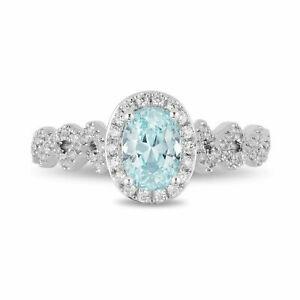 Enchanted Disney Elsa Oval Aqua Blue Diamond Frame Twist Shank Engagement Ring