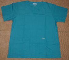 Landau V Neck Scrub Top Double Bottom Pocket Teal Blue BTP Style 8219 Sz Medium