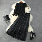 runway wholesale Crew neck Long sleeves Panelled top Button Mesh Skirt suit