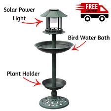 NEW Outdoor Solar Bird Bath Birdbath Decor Garden LED Light Bird Feeder Planter