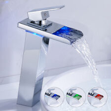 Tall Bathroom LED Color Change Basin Mixer Sink Waterfall Taps Chrome Square Tap