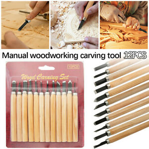 12PCS Wood Carving Chisels Knife For Basic Wood Cut DIY Tools and Woodworking ON
