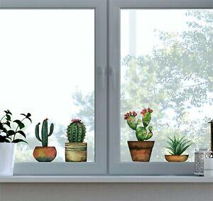 Fenstersticker Fensterbilder Fenster Aufkleber Kaktus Kakteen Blumentopf