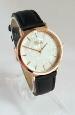 LADIES WATCH BLUSH ROSE GOLD MOTHER OF PEARL STYLE DIAL Black Leatherette Strap