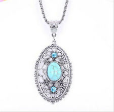 Tibet Silver Hollow Flower Crystal Turquoise Turtle Shaped Pendant Necklace Gift