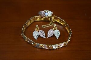 10Carat Yellow & Rose Gold Leaf Set (Ring, Bracelet and Earrings)