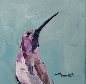 JOSE TRUJILLO Oil Painting IMPRESSIONISM CONTEMPORARY Hummingbird ORIGINAL ART
