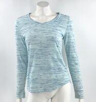 Attention Top Size Medium Blue Space Dye V Neck Long Sleeve Tee Shirt Womens