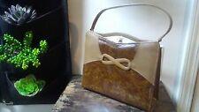 Vintage Air Step Handbag Box Purse Gold Tone Snap Brown Beige Faux Leather CUTE!