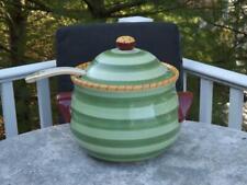 Pistoulet Pfaltzgraff Green Stripes Soup Tureen & Ladle Jane Kolpen  Mint Cond.