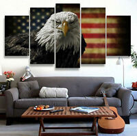 Modern Abstract Oil Painting Wall Decor Art Huge - Eagle American flag 5pcs