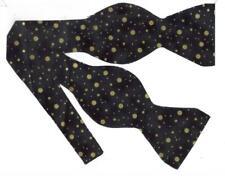 Black & Gold Bow Tie / Metallic Gold Christmas Dots on Black / Self-tie Bow Tie