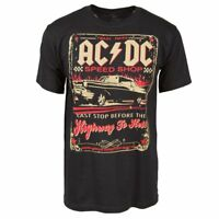 Mens ACDC Speed Shop Rock T Shirt Highway to Hell NEW Black Licensed Tee