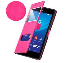 Etui Housse Coque Pochette Double Fenetre Flip Sony Xperia X Compact - Rose