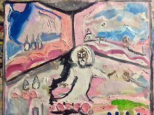 "16x20 Yah & Angels Abstract Outsider Rural Oil Canvas""Folk Art"