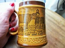 VINTAGE TREACLE GLAZED SMALL TANKARD JERSEY POTTERY COW CALF ORGUEIL CASTLE