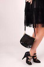 Vintage black & gold patent leather croc effect clutch bag shoulder bag