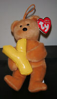 """Ty Alphabet Beanie Baby ~ Y Letter the 5.5"""" Bear ~ MINT with MINT TAGS ~ RETIRED"""