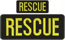 Rescue embroidery patches 4x10 and 2x5  hook on back gold letters black